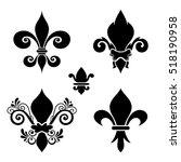 vector ink set of fleur de lis. ... | Shutterstock .eps vector #518190958
