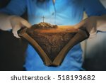 an open bible with the...   Shutterstock . vector #518193682