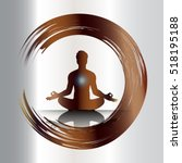 man meditate dark brown... | Shutterstock .eps vector #518195188