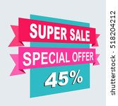 super sale  paper banner  sale... | Shutterstock .eps vector #518204212