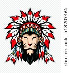 lion with war bonnet.  | Shutterstock .eps vector #518209465