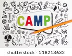 the word camp on stem education ... | Shutterstock . vector #518213632
