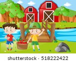 farm scene with two boys and... | Shutterstock .eps vector #518222422