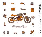 cafe racer retro motorbike...   Shutterstock .eps vector #518243602