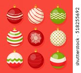 Christmas hanging ball vector collection set | Shutterstock vector #518255692
