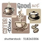 hand drawn doodle coffee... | Shutterstock .eps vector #518263306