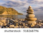 pebble stack on the sea coast