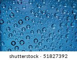 water drops in blue - stock photo