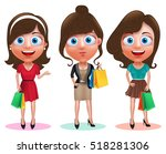 woman shopping vector... | Shutterstock .eps vector #518281306