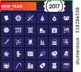 happy new year vector icons set ... | Shutterstock .eps vector #518286538