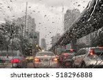Traffic Jam In Rainy Day With...