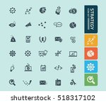 strategy icon set clean vector | Shutterstock .eps vector #518317102