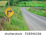 old road sign  for a sharp... | Shutterstock . vector #518346106