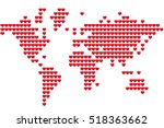 world map made red hearts. love ... | Shutterstock .eps vector #518363662