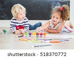 cute little preschooler... | Shutterstock . vector #518370772