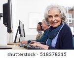 senior woman attending computer ... | Shutterstock . vector #518378215