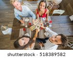 group of best friends toasting... | Shutterstock . vector #518389582