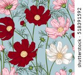 seamless pattern with flowers.... | Shutterstock .eps vector #518391592