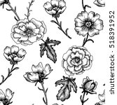 vintage vector floral seamless... | Shutterstock .eps vector #518391952