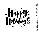 Happy Holidays handlettering text. Handmade vector calligraphy collection