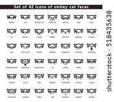 Stock vector set of vector icons of smiley cat faces collection of emoticons simple black images on white 518435638