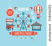 christmas market and holiday...   Shutterstock .eps vector #518436352