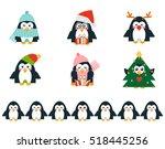 set of vector cartoon birds in... | Shutterstock .eps vector #518445256