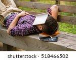 asian man taking a nap on a... | Shutterstock . vector #518466502