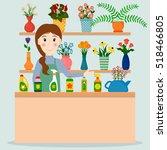 flower shop florist or female... | Shutterstock .eps vector #518466805