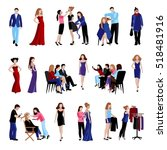 fashion model flat icons set... | Shutterstock . vector #518481916