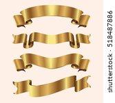 set of golden ribbons on beige...   Shutterstock .eps vector #518487886