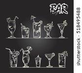 vector set of cocktail glasses... | Shutterstock .eps vector #518495488