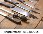 Set Of Kitchen Knives On A...