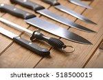Set Of Kitchen Knives On A...