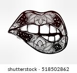 sexy biting lips. pop art print ... | Shutterstock .eps vector #518502862