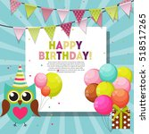 color glossy happy birthday... | Shutterstock .eps vector #518517265
