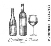 hand drawn glass stemware bottle | Shutterstock .eps vector #518517586