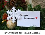 white note with hello december... | Shutterstock . vector #518523868