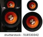orange speakers on a white... | Shutterstock . vector #518530342