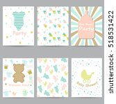 Baby Shower Cards. Set   Vecto...