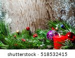 christmas background wooden | Shutterstock . vector #518532415