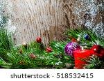 christmas background wooden | Shutterstock . vector #518532415