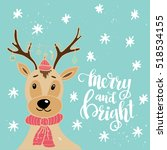 christmas card template. hand... | Shutterstock .eps vector #518534155