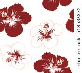 hibiscus flowers in red colors. ... | Shutterstock .eps vector #518536372