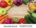 colorful fruits and vegetables... | Shutterstock . vector #518551252