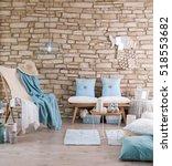 brick wall lounge chair blue... | Shutterstock . vector #518553682