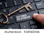 Small photo of Closeup of finger on keyboard with words CUSTOMER RELATIONSHIP
