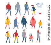 set of cartoon people in winter ... | Shutterstock .eps vector #518564122