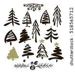 hand drawn grunge christmas... | Shutterstock .eps vector #518565712