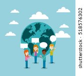 cartoon people standing with... | Shutterstock .eps vector #518576302